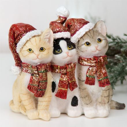 Hand Painted Christmas Kittens Ornament